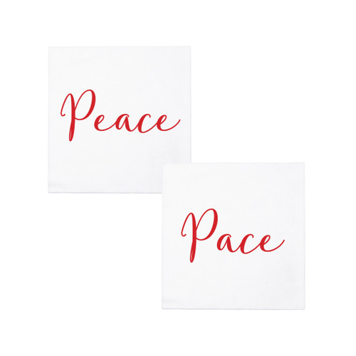 "Vietri Papersoft Peace/Pace Cocktail Napkins  PPS-6051PC 5""Sq (Folded) 10""Sq (Flat) Papersoft Napkins Peace/Pace Cocktail Napkins from plumpuddingkitchen.com are highly absorbent and made of a fibrous material (spunlace) in Italy. An easy grab-and-go gift for the hostess or a fun addition to your last-minute dinner party, these napkins are perfect for the holidays."
