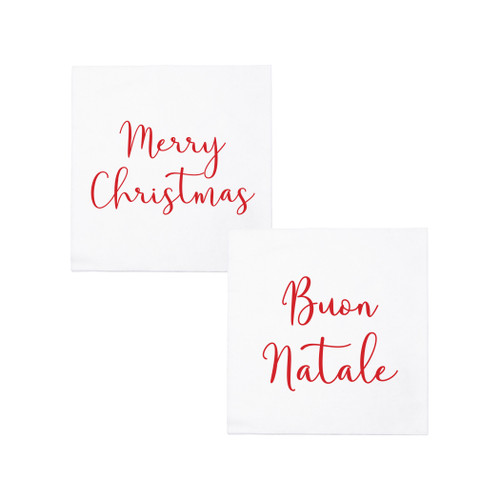 """Vietri Papersoft Napkins Merry Christmas/Buon Natale Cocktail Napkins PPS-6051MC 5""""Sq (Folded) 10""""Sq (Flat) Papersoft Napkins Merry Christmas/Buon Natale Cocktail Napkins from plumpuddingkitchen.com are highly absorbent and made of a fibrous material (spunlace) in Italy. An easy grab-and-go gift for the hostess or a fun addition to your last-minute dinner party, these napkins are perfect for the holidays."""