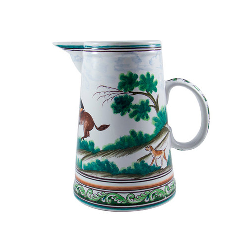 C.E. Corey Century Hunt Pitcher  A115  A truly magnificent and whimsical fox hunt scene. The pattern is done using the Century-Style Painting technique developed by artisans in Portugal. Each piece is a true work of art, handmade, hand-painted and signed.