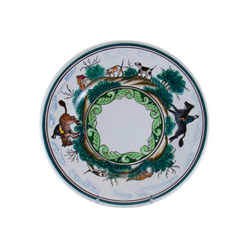 "C.E. Corey Century Hunt Dessert/Salad Plate  A004CE  8.5"" Diameter  A truly magnificent and whimsical fox hunt scene. The pattern is done using the Century-Style Painting technique developed by artisans in Portugal. Each piece is a true work of art, handmade, hand-painted and signed."
