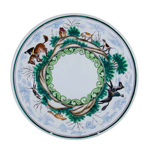 "C.E. Corey Century Hunt Dinner Plate  A005CE  11"" Diameter  A truly magnificent and whimsical fox hunt scene. The pattern is done using the Century-Style Painting technique developed by artisans in Portugal. Each piece is a true work of art, handmade, hand-painted and signed."
