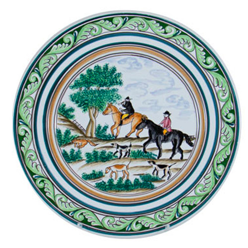 "C.E. Corey Century Hunt Buffet/Charger Plate  A006  12"" Diameter  A truly magnificent and whimsical fox hunt scene. The pattern is done using the Century-Style Painting technique developed by artisans in Portugal. Each piece is a true work of art, handmade, hand-painted and signed."
