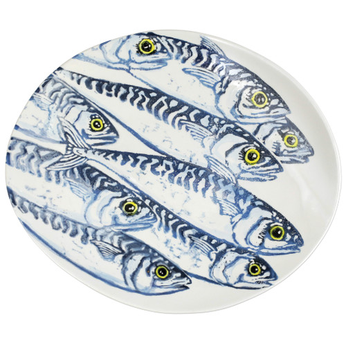 """Vietri Maccarello Medium Oval Platter MCC-9737 16.5""""L, 13.75""""W  Maccarello(mack are rello): mackerel  Combining his love for fishing with his passion or art, maestro artisan Gianluca Fabbro hones his sponging technique to beautifully illustrate the hues and nuances of the blue mackerel, a fish commonly found in the Adriatic Sea.  Handpainted on terra bianca in Veneto  Dishwasher and microwave safe. Select pieces are also oven safe."""