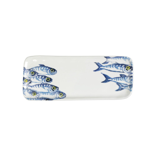 "Vietri Maccarello Small Oval Platter MCC-9724 13""L, 8""W  Maccarello (mack are rello): mackerel  Combining his love for fishing with his passion or art, maestro artisan Gianluca Fabbro hones his sponging technique to beautifully illustrate the hues and nuances of the blue mackerel, a fish commonly found in the Adriatic Sea.  Handpainted on terra bianca in Veneto.  Dishwasher and microwave safe.  Select pieces are also oven safe."