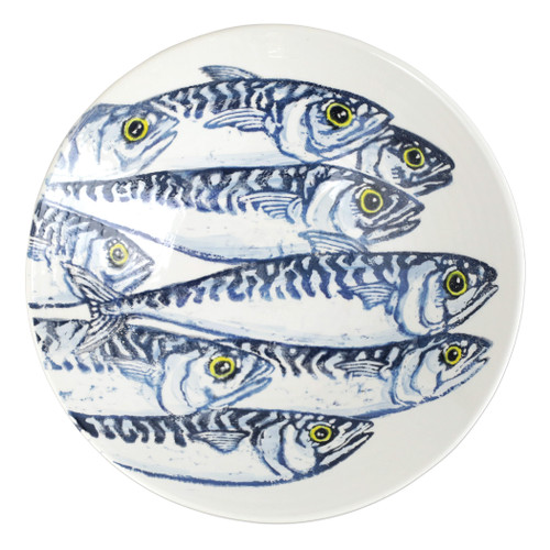 """Vietri Maccarello Large Serving Bowl MCC-9732 14.25""""D, 3.75""""H  Maccarello(mack are rello): mackerel  Combining his love for fishing with his passion or art, maestro artisan Gianluca Fabbro hones his sponging technique to beautifully illustrate the hues and nuances of the blue mackerel, a fish commonly found in the Adriatic Sea.  Handpainted on terra bianca in Veneto.  Dishwasher and microwave safe. Select pieces are also oven safe."""