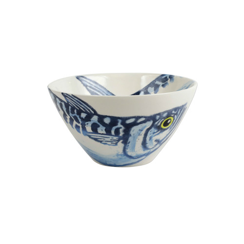 """Vietri Maccarello Cereal Bowl MCC-9705 6.5""""D, 3.5""""H  Maccarello(mack are rello): mackerel  Combining his love for fishing with his passion or art, maestro artisan Gianluca Fabbro hones his sponging technique to beautifully illustrate the hues and nuances of the blue mackerel, a fish commonly found in the Adriatic Sea.  Handpainted on terra bianca in Veneto.  Dishwasher and microwave safe. Select pieces are also oven safe."""