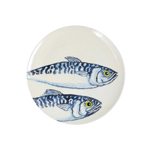 """Vietri Maccarello Dinner Plate MCC-9700 11.5""""D  Maccarello(mack are rello): mackerel  Combining his love for fishing with his passion or art, maestro artisan Gianluca Fabbro hones his sponging technique to beautifully illustrate the hues and nuances of the blue mackerel, a fish commonly found in the Adriatic Sea.  Handpainted on terra bianca in Veneto.  Dishwasher and microwave safe. Select pieces are also oven safe."""