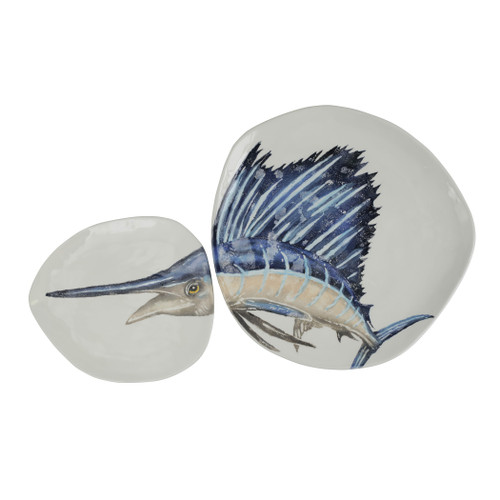 "Vietri Pesca Blue Marlin Set  PCE-9757 7.5"" - 11.5"" Diameter  Pesca, Italian for fishing, was inspired by an evening walk along the pier in Santa Barbara. A lifelong admirer of the sea, maestro artisan, Gianluca Fabbro, often enjoys an afternoon spent on his boat with friends sailing the Adriatic Sea. It was during a visit to California that Gianluca was reminded of the peace the ocean instills in him - fresh salt air, the caw of seagulls flocking for food, fish splashing in the water - often reminiscent of a Hemingway novel.   Handpainted on terra bianca in Veneto. Dishwasher and microwave safe."