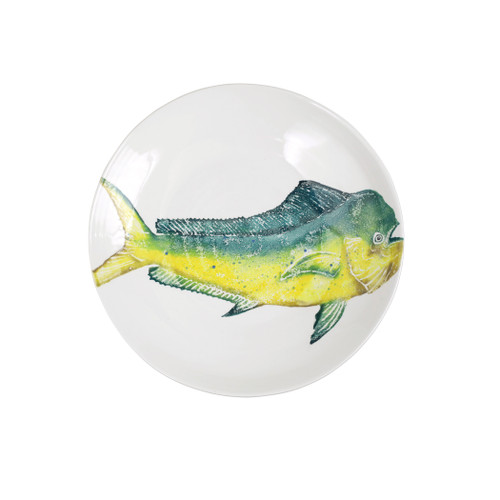 "Vietri Pesca Mahi Mahi Shallow Bowl  PCE-9733 15.5"" Diameter, 1.75""H  Pesca, Italian for fishing, was inspired by an evening walk along the pier in Santa Barbara. A lifelong admirer of the sea, maestro artisan, Gianluca Fabbro, often enjoys an afternoon spent on his boat with friends sailing the Adriatic Sea. It was during a visit to California that Gianluca was reminded of the peace the ocean instills in him - fresh salt air, the caw of seagulls flocking for food, fish splashing in the water - often reminiscent of a Hemingway novel.   Handpainted on terra bianca in Veneto. Dishwasher and microwave safe."