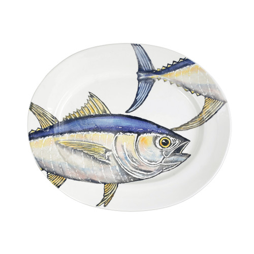 """Vietri Pesca Tuna Large Oval Platter  PCE-9726 21.75""""L, 18""""W  Pesca, Italian for fishing, was inspired by an evening walk along the pier in Santa Barbara. A lifelong admirer of the sea, maestro artisan, Gianluca Fabbro, often enjoys an afternoon spent on his boat with friends sailing the Adriatic Sea. It was during a visit to California that Gianluca was reminded of the peace the ocean instills in him - fresh salt air, the caw of seagulls flocking for food, fish splashing in the water - often reminiscent of a Hemingway novel.  Handpainted on terra bianca in Veneto. Dishwasher and microwave safe."""