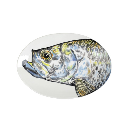 """Vietri Pesca Tarpoon Shallow Oval Bowl  PCE-9722 18.75""""L, 13""""W  Pesca, Italian for fishing, was inspired by an evening walk along the pier in Santa Barbara. A lifelong admirer of the sea, maestro artisan, Gianluca Fabbro, often enjoys an afternoon spent on his boat with friends sailing the Adriatic Sea. It was during a visit to California that Gianluca was reminded of the peace the ocean instills in him - fresh salt air, the caw of seagulls flocking for food, fish splashing in the water - often reminiscent of a Hemingway novel.  Handpainted on terra bianca in Veneto. Dishwasher and microwave safe."""