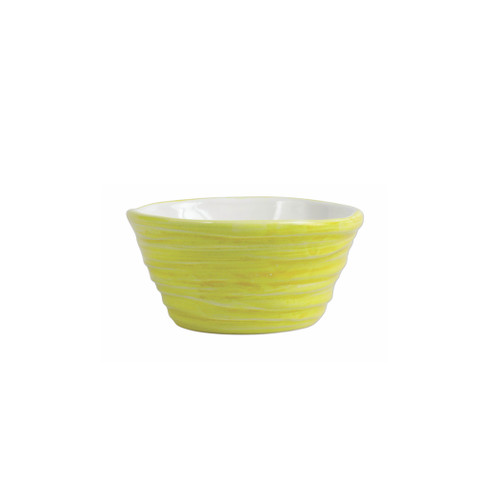 "Vietri Pesci Colorati Yellow Ramekin  PSE-7874Y  4.75""D, 2.25""H  Vietri's Pesci Colorati from plumpuddingkitchen.com portrays the subtle nuances of a varied school of fish in bold, saturated colors while maestro artisans embrace their craft to illustrate the careful attention to detail in this one-of-a-kind design.  Handpainted on terra bianca in Tuscany.   Oven and Dishwasher Safe."