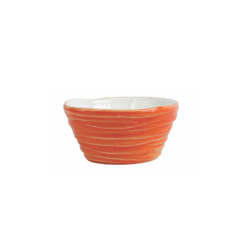 "Vietri Pesci Colorati Orange Ramekin  PSE-7874O  4.75""D, 2.25""H  Vietri's Pesci Colorati from plumpuddingkitchen.com portrays the subtle nuances of a varied school of fish in bold, saturated colors while maestro artisans embrace their craft to illustrate the careful attention to detail in this one-of-a-kind design.  Handpainted on terra bianca in Tuscany.   Oven and Dishwasher Safe."