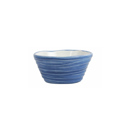 "Vietri Pesci Colorati Cobalt Ramekin  PSE-7874C  4.75""D, 2.25""H  Vietri's Pesci Colorati from plumpuddingkitchen.com portrays the subtle nuances of a varied school of fish in bold, saturated colors while maestro artisans embrace their craft to illustrate the careful attention to detail in this one-of-a-kind design.  Handpainted on terra bianca in Tuscany.   Oven and Dishwasher Safe."