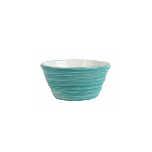 "Vietri Pesci Colorati Aqua Ramekin  PSE-7874A  4.75""D, 2.25""H  Vietri's Pesci Colorati from plumpuddingkitchen.com portrays the subtle nuances of a varied school of fish in bold, saturated colors while maestro artisans embrace their craft to illustrate the careful attention to detail in this one-of-a-kind design.  Handpainted on terra bianca in Tuscany.   Oven and Dishwasher Safe."