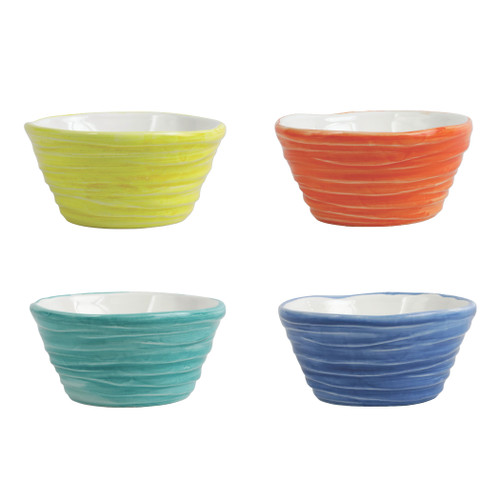 "Vietri Pesci Colorati Assorted Ramekins Set/4  PSE-7874  4.75""D, 2.25""H  Vietri's Pesci Colorati from plumpuddingkitchen.com portrays the subtle nuances of a varied school of fish in bold, saturated colors while maestro artisans embrace their craft to illustrate the careful attention to detail in this one-of-a-kind design.  Handpainted on terra bianca in Tuscany.   Oven and Dishwasher Safe."