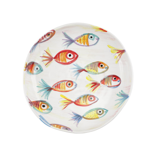 "Vietri Pesci Colorati Handled Round Tray  PSE-7822  14""Diameter  Vietri's Pesci Colorati from plumpuddingkitchen.com portrays the subtle nuances of a varied school of fish in bold, saturated colors while maestro artisans embrace their craft to illustrate the careful attention to detail in this one-of-a-kind design.  Handpainted on terra bianca in Tuscany.   Dishwasher Safe."