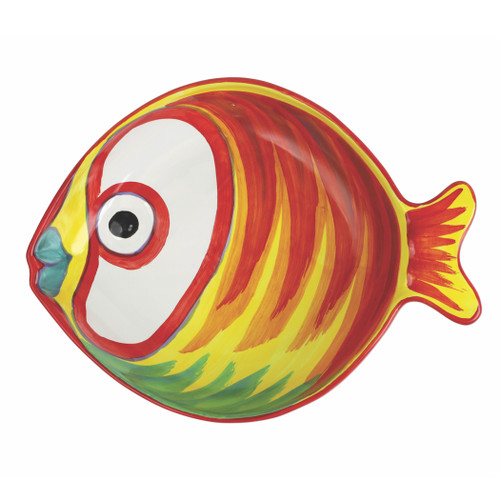 "Vietri Pesci Colorati Figural Fish Medium Serving Bowl  PSE-7831  13""L, 10""W, 2.5""H  Vietri's Pesci Colorati from plumpuddingkitchen.com portrays the subtle nuances of a varied school of fish in bold, saturated colors while maestro artisans embrace their craft to illustrate the careful attention to detail in this one-of-a-kind design.  Handpainted on terra bianca in Tuscany.   Dishwasher Safe."