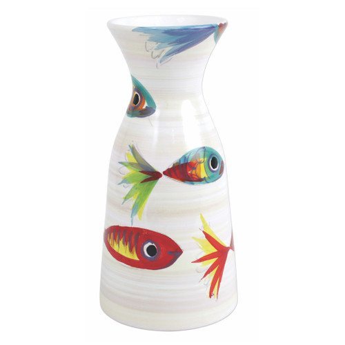 "Vietri Pesci Colorati Figural Wine Carafe  PSE-78105  9.75""H, 40oz  Vietri's Pesci Colorati from plumpuddingkitchen.com portrays the subtle nuances of a varied school of fish in bold, saturated colors while maestro artisans embrace their craft to illustrate the careful attention to detail in this one-of-a-kind design.  Handpainted on terra bianca in Tuscany.   Dishwasher Safe."