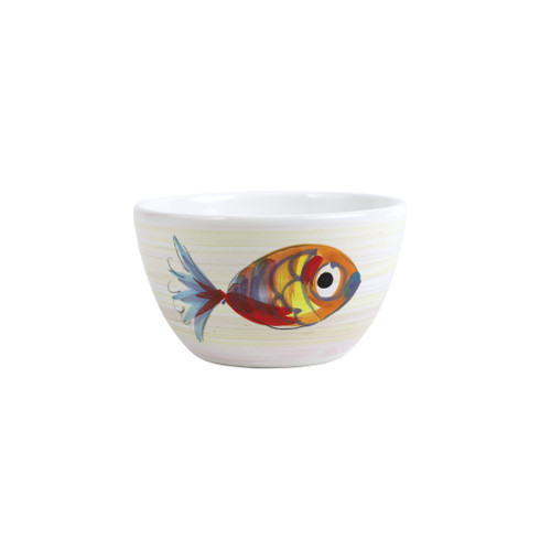 """Vietri Pesci Colorati Cereal Bowl  PSE-7805  5.75"""" Diameter, 3.25""""H  Vietri's Pesci Colorati from plumpuddingkitchen.com portrays the subtle nuances of a varied school of fish in bold, saturated colors while maestro artisans embrace their craft to illustrate the careful attention to detail in this one-of-a-kind design.  Handpainted on terra bianca in Tuscany. Dishwasher Safe."""