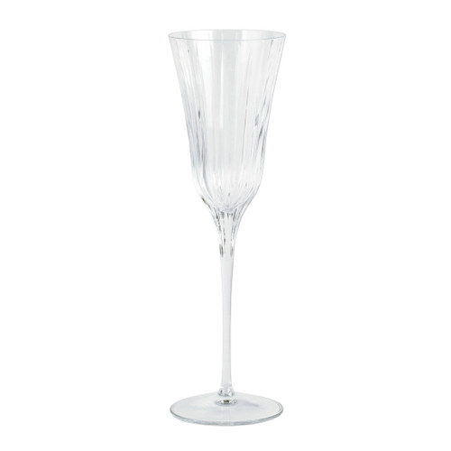 "Vietri Natalia Champagne Glass NLE-8850 9.75""H, 7oz  Reminiscent of cut crystal, Natalia from plumpuddingkitchen.com is poised for elegance with etched Italian glass that can be dressed up or down for any dining occasion.  Made in Naples. Dishwasher safe."