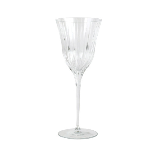 "Vietri Natalia Wine Glass NLE-8820 9""H, 9oz  Reminiscent of cut crystal, Natalia from plumpuddingkitchen.com is poised for elegance with etched Italian glass that can be dressed up or down for any dining occasion.  Made in Naples. Dishwasher safe."