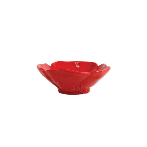 """Lastra Poppy Figural Condiment Bowl  LPY-2603F 5.75""""D, 2""""H  The simple sophistication of Vietri's Lastra endures with Lastra Poppy.Bringing the warmth of a Tuscan summer to your table, this collection features bright pops of red and vibrant greens, detailing the beauty of this handpainted collection with authentically Italian appeal.  Handpainted on Italian stonewarein Tuscany. Dishwasher, microwave, freezer, and oven safe."""
