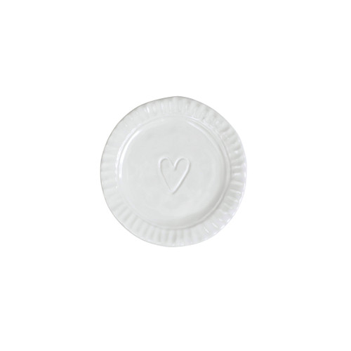 "Vietri Pietri Serena Heart Plate  PIE-2695 5.25""D  Characterized by handpressed edges, Pietra Serena pays tribute to the architectural details of Florence, Italy during the Renaissance.  Pietra, meaning stone in Italian, is the gray marble sandstone that is the foundation of this remarkable city.  Handcrafted of Italian stoneware in Tuscany. Dishwasher, microwave, freezer, and oven safe."