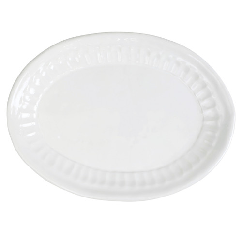 """Vietri Pietri Serena Small Oval Platter  PIE-2625 13.75""""L, 10.25""""W  Characterized by handpressed edges, Pietra Serena pays tribute to the architectural details of Florence, Italy during the Renaissance.  Pietra, meaning stone in Italian, is the gray marble sandstone that is the foundation of this remarkable city.  Handcrafted of Italian stoneware in Tuscany. Dishwasher, microwave, freezer, and oven safe."""