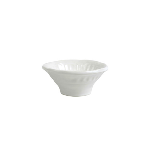 "Vietri Pietri Serena Dipping Bowl  PIE-2679 5.25""D, 2.25""H  Characterized by handpressed edges, Pietra Serena pays tribute to the architectural details of Florence, Italy during the Renaissance.  Pietra, meaning stone in Italian, is the gray marble sandstone that is the foundation of this remarkable city.  Handcrafted of Italian stoneware in Tuscany. Dishwasher, microwave, freezer, and oven safe."