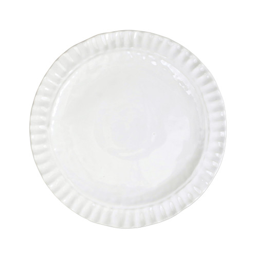 """Vietri Pietri Serena Dinner Plate  PIE-2600 11.5""""D  Characterized by handpressed edges, Pietra Serena pays tribute to the architectural details of Florence, Italy during the Renaissance.  Pietra, meaning stone in Italian, is the gray marble sandstone that is the foundation of this remarkable city.  Handcrafted of Italian stoneware in Tuscany. Dishwasher, microwave, freezer, and oven safe."""