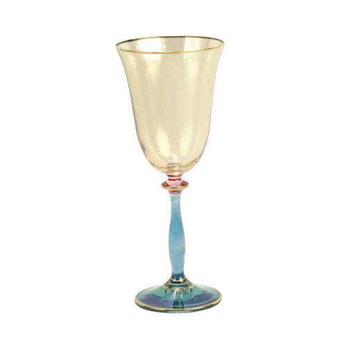 "Vietri Regalia Deco Blue Wine Glass  RDE-7620B 8.25""H, 8 oz  Regalia Deco, characterized by layered hues and gold accents, effortlessly complements the ornate 14-karat gold emblems of Regalia.  Designed in Italy. Handwash."