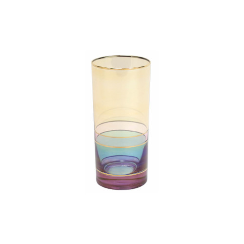 """Vietri Regalia Deco Purple High Ball  RDE-7613P 6""""H, 14 oz  Regalia Deco, characterized by layered hues and gold accents, effortlessly complements the ornate 14-karat gold emblems of Regalia.  Designed in Italy. Handwash."""