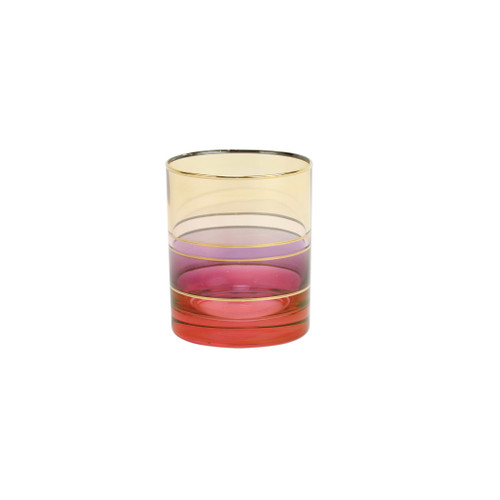 """Vietri Regalia Deco Red Double Old Fashioned  RDE-7612R 4""""H, 12 oz  Regalia Deco, characterized by layered hues and gold accents, effortlessly complements the ornate 14-karat gold emblems of Regalia.  Designed in Italy. Handwash."""