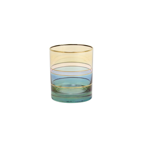 """Vietri Regalia Deco Green Double Old Fashioned  RDE-7612G 4""""H, 12 oz  Regalia Deco, characterized by layered hues and gold accents, effortlessly complements the ornate 14-karat gold emblems of Regalia.  Designed in Italy. Handwash."""