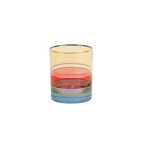 """Vietri Regalia Deco Blue Double Old Fashioned  RDE-7612B 4""""H, 12 oz  Regalia Deco, characterized by layered hues and gold accents, effortlessly complements the ornate 14-karat gold emblems of Regalia.  Designed in Italy. Handwash."""