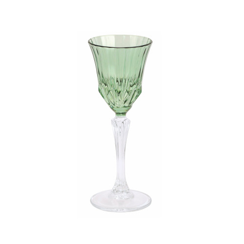 """Vietri Regalia Deco Green Cordial  RDE-5914G 6.75""""H, 2 oz  Regalia Deco, characterized by layered hues and gold accents, effortlessly complements the ornate 14-karat gold emblems of Regalia.  Designed in Italy. Handwash."""