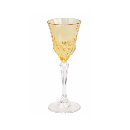 """Vietri Regalia Deco Amber Cordial  RDE-5914A 6.75""""H, 2 oz  Regalia Deco, characterized by layered hues and gold accents, effortlessly complements the ornate 14-karat gold emblems of Regalia.  Designed in Italy. Handwash."""