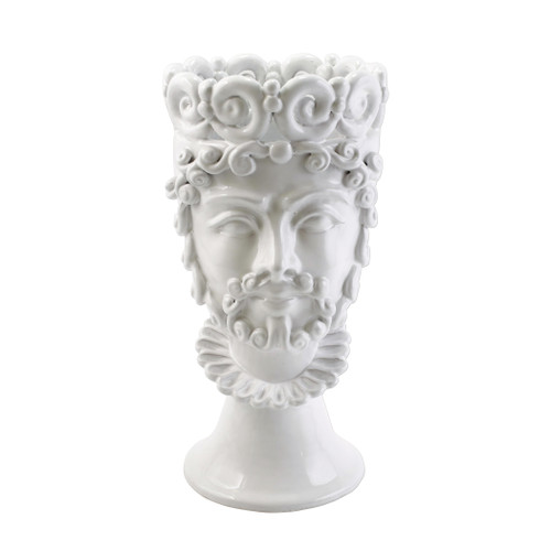 "Vietri Sicilian Heads White Large King Head Planter  SCY-9101WK 7.5""D, 14.5""H  Sicilian Heads pay tribute to an unmistakable Sicilian tradition dating back generations, honoring women, and the beauty they bring to the world. While wandering the lively intertwining streets of Sicily, one can often find these remarkable ceramic heads adorning doorsteps, porches, and balconies as they overflow with beautiful flowers and greenery.  Handpainted on terra cotta in Sicily. Wipe with damp cloth to clean."