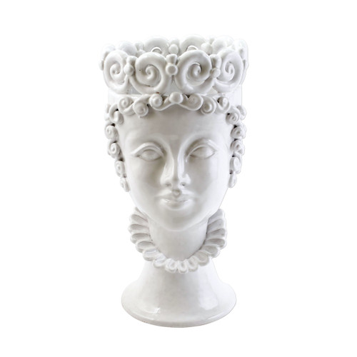 "Vietri Sicilian Heads White Large Queen Head Planter  SCY-9101WQ 7.5""D, 14.5""H  Sicilian Heads pay tribute to an unmistakable Sicilian tradition dating back generations, honoring women, and the beauty they bring to the world. While wandering the lively intertwining streets of Sicily, one can often find these remarkable ceramic heads adorning doorsteps, porches, and balconies as they overflow with beautiful flowers and greenery.  Handpainted on terra cotta in Sicily. Wipe with damp cloth to clean."