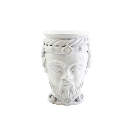 "Vietri Sicilian Heads White Small King Head Planter  SCY-9100WK 6""D, 9""H  Sicilian Heads pay tribute to an unmistakable Sicilian tradition dating back generations, honoring women, and the beauty they bring to the world. While wandering the lively intertwining streets of Sicily, one can often find these remarkable ceramic heads adorning doorsteps, porches, and balconies as they overflow with beautiful flowers and greenery.  Handpainted on terra cotta in Sicily. Wipe with damp cloth to clean."