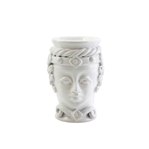 "Vietri Sicilian Heads White Small Queen Head Planter  SCY-9100WQ 6""D, 9""H  Sicilian Heads pay tribute to an unmistakable Sicilian tradition dating back generations, honoring women, and the beauty they bring to the world. While wandering the lively intertwining streets of Sicily, one can often find these remarkable ceramic heads adorning doorsteps, porches, and balconies as they overflow with beautiful flowers and greenery.  Handpainted on terra cotta in Sicily. Wipe with damp cloth to clean."