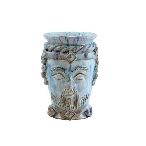 "ietri Sicilian Heads Blue Small King Head Planter  SCY-9100BK 6""D, 9""H  Sicilian Heads pay tribute to an unmistakable Sicilian tradition dating back generations, honoring women, and the beauty they bring to the world. While wandering the lively intertwining streets of Sicily, one can often find these remarkable ceramic heads adorning doorsteps, porches, and balconies as they overflow with beautiful flowers and greenery.  Handpainted on terra cotta in Sicily. Wipe with damp cloth to clean."