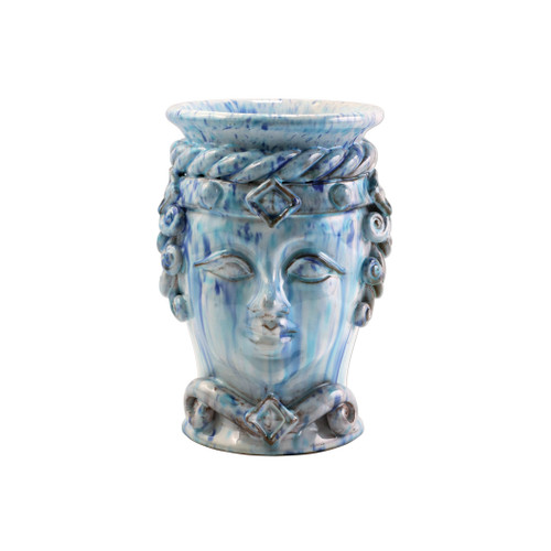 "Vietri Sicilian Heads Blue Small Queen Head Planter  SCY-9100BQ 6""D, 9""H  Sicilian Heads pay tribute to an unmistakable Sicilian tradition dating back generations, honoring women, and the beauty they bring to the world. While wandering the lively intertwining streets of Sicily, one can often find these remarkable ceramic heads adorning doorsteps, porches, and balconies as they overflow with beautiful flowers and greenery.  Handpainted on terra cotta in Sicily. Wipe with damp cloth to clean"