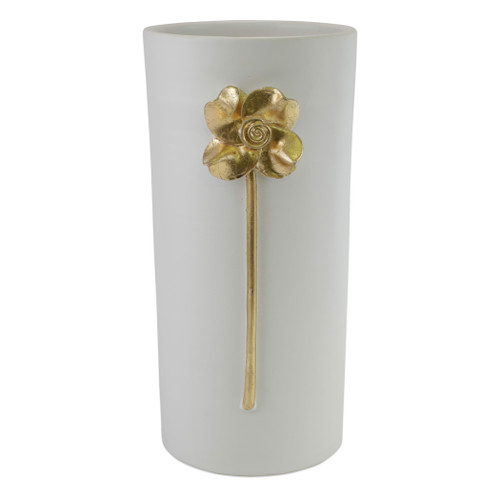 """Vietri Fiori Rose Large Vase  FOI-2682 7.25""""D, 16""""H  Fiori, meaning flowers in Italian, features a series of delicately carved flowers accented in gold atop beautiful matte white vases.  Handcrafted of terra bianca in Tuscany.  Wipe with damp cloth to clean."""