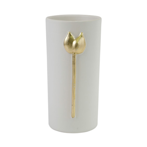 """Vietri Fiori Tulip Small Vase  FOI-2680 5.25""""D, 11.5""""H  Fiori, meaning flowers in Italian, features a series of delicately carved flowers accented in gold atop beautiful matte white vases.  Handcrafted of terra bianca in Tuscany.  Wipe with damp cloth to clean."""
