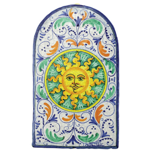 "Vietri First Stones Dome Sun Wall Plaque  FTS-9105 15.5""L, 9.25""W  A VIETRI Classic, First Stones are rich in allegorical representation and bring good wishes and serenity to your home indoors and outdoors with handpainted vibrant colors characteristic of Sicilian culture and its historical identity.  Handpainted on terra cotta in Sicily. Wipe with damp cloth to clean."