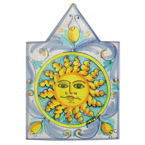 "Vietri First Stones Pointed Sun Wall Plaque  FTS-9104 12""L, 8.25""W  A VIETRI Classic, First Stones are rich in allegorical representation and bring good wishes and serenity to your home indoors and outdoors with handpainted vibrant colors characteristic of Sicilian culture and its historical identity.  Handpainted on terra cotta in Sicily. Wipe with damp cloth to clean."