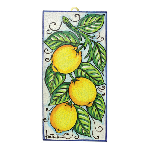"Vietri First Stones Lemons Vine Wall Plaque  FTS-9102 11.75""L, 5.75""W  A VIETRI Classic, First Stones are rich in allegorical representation and bring good wishes and serenity to your home indoors and outdoors with handpainted vibrant colors characteristic of Sicilian culture and its historical identity.  Handpainted on terra cotta in Sicily. Wipe with damp cloth to clean."