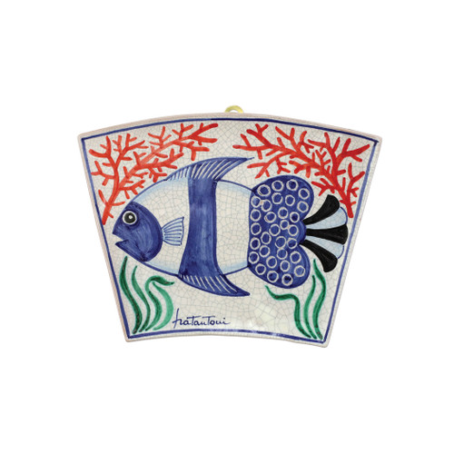 "Vietri First Stones Fish Wall Plaque  FTS-9101 7.75""L, 10.5""W  A VIETRI Classic, First Stones are rich in allegorical representation and bring good wishes and serenity to your home indoors and outdoors with handpainted vibrant colors characteristic of Sicilian culture and its historical identity.  Handpainted on terra cotta in Sicily. Wipe with damp cloth to clean."